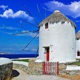 Moulins à vent de Mykonos photographie stock libre de droits