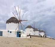 Moulins à vent de Mykonos Photos libres de droits