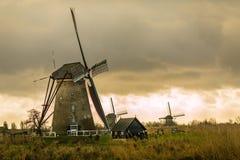 Moulins à vent de Néerlandais d'historiens Photos libres de droits