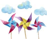 Moulins à vent de papier d'aquarelle avec des nuages Moulin à vent tiré par la main de vintage avec la rétro conception Illustrat illustration libre de droits