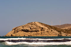 Moulins à vent de saut de la Grèce de mer Égée Photo stock