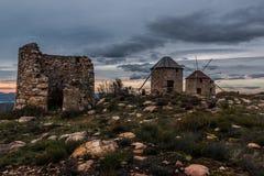 Moulins à vent de Serra da Atalhada, Penacova, Portugal Image libre de droits