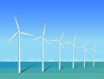 Moulins à vent en mer sur le ciel bleu de fond, plat Photographie stock