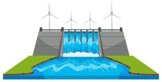 Moulins à vent et barrage avec des courants illustration de vecteur
