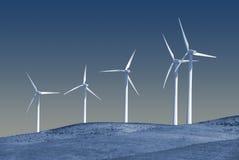Moulins à vent générateurs de puissance blancs rigides Photos stock