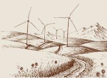 Moulins à vent sur le paysage de collines illustration libre de droits
