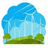 Moulins à vent sur les champs verts illustration stock