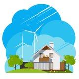 Moulins à vent sur les champs verts Maison illustration libre de droits