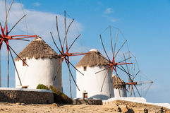 Moulins à vent sur Mykonos Photos stock