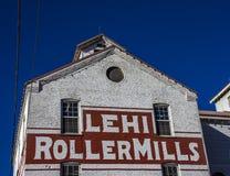 Moulins iconiques dans des moulins de rouleau des Etats-Unis Lehi photographie stock libre de droits