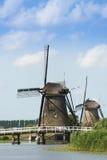 Moulins traditionnels aux Pays-Bas, dans Kinderdijk Photo stock