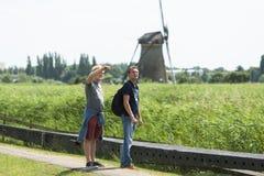 Moulins traditionnels aux Pays-Bas, dans Kinderdijk Photo libre de droits