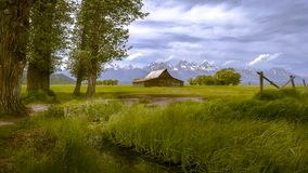 Moulton Barn and the Grand Teton Mountain range royalty free stock photography