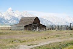 Moulton Barn and Grand Tetons. Moulton Barn on Mormon Row, Antelope Flats Road, Grand Teton National Park, Wyoming, United States Stock Photos