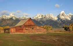 Moulton Barn at Sunrise in the Fall, Grand Tetons National Park Royalty Free Stock Photography