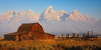 Moulton Barn at Sunrise, Grand Teton National Park Stock Photography