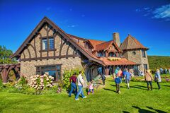 MOULTONBOROUGH, NH - OCTOBER 2015: Tourists visit Castle in the Clouds on a wonderful autumn morning