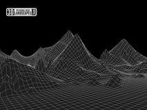 Moun in bianco e nero futuristico del paesaggio del paesaggio della struttura della mappa 3d illustrazione vettoriale