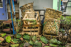 Mound of bamboo basket using for vegetable and fruit waste at traditional market photo taken in Depok Indonesia Royalty Free Stock Photos