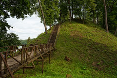 Mound of Birstonas Lithuania. Summer landscape. Vytautas hill is one the highest the height of slopes is up to 40m and best known mounds in Lithuania. Visiting Royalty Free Stock Photo