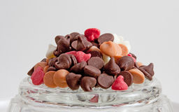 Mound of Chocolate Chips on Glass Dish Royalty Free Stock Images