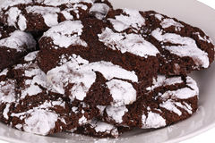 Mound of chocolate crinkle cookies Royalty Free Stock Photos