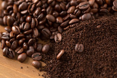 Mound of Coffee Beans and Grounds Royalty Free Stock Image