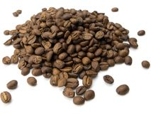 Mound of coffee beans on white Royalty Free Stock Images