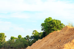 Mound for construction on the field of forest. Stock Image