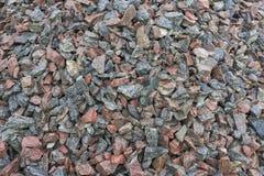Mound crushed gravel, close-up, construction material Stock Photos