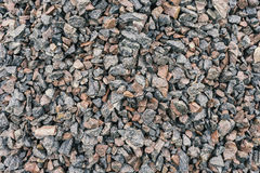 Mound crushed gravel, close-up, construction material Royalty Free Stock Images