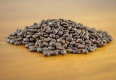 Mound of fresh whole coffee beans stock image