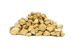 Mound of gold. Close-up, isolated on white background Stock Image