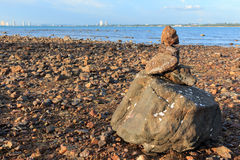 Mound of gravel was constructed on the shore Royalty Free Stock Photography