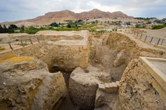 Mound Jericho. Old ruins and remains in Tell es-Sultan better known as Jericho the oldest city in the world, with the mount of temptation on the background Stock Images
