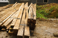 A mound of plank wood used especially in building and flooring photo taken in Bogor Indonesia Royalty Free Stock Photo