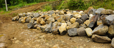 Mound of rocks for building roads photo taken in Bogor Indonesia Stock Photo