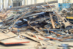 Mound Scrap Metal of Plasma Machine. In Factory Stock Photo