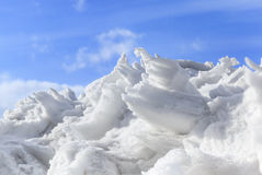 Mound of snow and ice in springtime Stock Photos