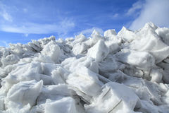 Mound of snow and ice in springtime Royalty Free Stock Photo