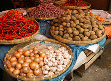Mound of spices and popatoes sells in traditional market in Bogor Indonesia Stock Image