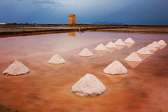 Mounds of salt in the Museum of Salt. (Saline di Nubia - Museo del Sale) in Sicily, Italy Royalty Free Stock Photography