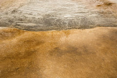 Mounds of travertine rock with orange geothermal pools, Yellowst Royalty Free Stock Photography