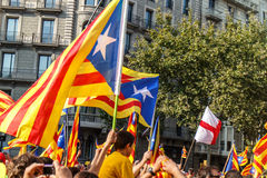 Mounstruation for independence of Catalonia in Barcelona Royalty Free Stock Photos