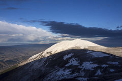 Mount Acuto at sunset in winter, Umbria, Apennines, Italy Royalty Free Stock Photo