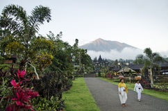 Mount agung from besakih temple in bali, indonesia Royalty Free Stock Photo