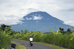 Mount Agung from East Bali countryside Stock Photography