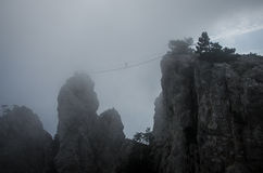 Mount Ai-Petri, Crimea. Suspension bridge on peak of Mount Ai-Petri, Crimea Royalty Free Stock Photo