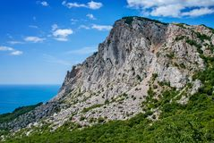 The Mount Ai-Petri over the Black Sea in Crimea royalty free stock images