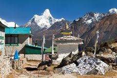 Mount Ama Dablam and Khumjung village near Namche bazar Stock Photos
